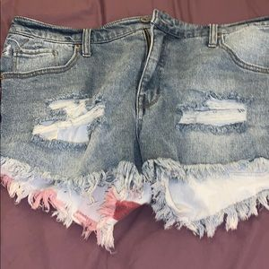 american flag ripped jean shorts